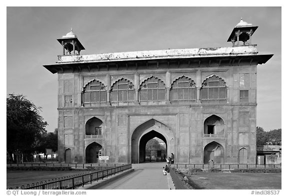 Naubat Khana (Drum house), Red Fort. New Delhi, India (black and white)