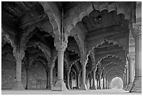 Arches in Diwan-i-Am, Red Fort. New Delhi, India (black and white)