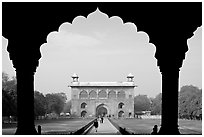 Naubat Khana seen through arches of Diwan-i-Am, Red Fort. New Delhi, India ( black and white)