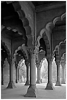 Red sandstone arches in Diwan-i-Am, Red Fort. New Delhi, India (black and white)