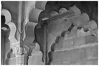 Detail of arche in Diwan-i-Am, Red Fort. New Delhi, India ( black and white)