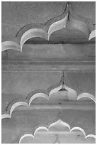 Arches and roof detail, Diwan-i-Am, Red Fort. New Delhi, India ( black and white)