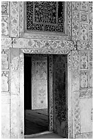 Gate in Diwan-i-Khas (Hall of private audiences), Red Fort. New Delhi, India (black and white)