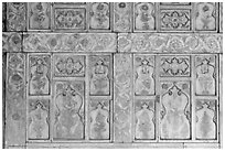 Marble wall decor,  Diwan-i-Khas, Red Fort. New Delhi, India (black and white)