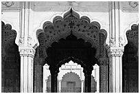 Arches, Diwan-i-Khas (Hall of private audiences), Red Fort. New Delhi, India ( black and white)