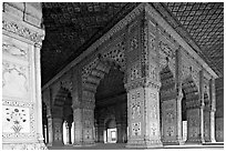 Columns and arches, Royal Baths, Red Fort. New Delhi, India (black and white)