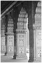 Marble columns,  Royal Baths, Red Fort. New Delhi, India (black and white)