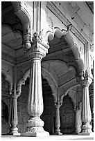 Thin columns, Khas Mahal, Red Fort. New Delhi, India ( black and white)