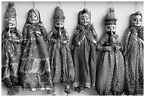 Puppets for sale, Chatta Chowk, Red Fort. New Delhi, India (black and white)