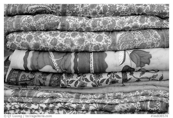 Fabrics for sale, Covered Bazar, Red Fort. New Delhi, India (black and white)