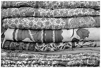 Fabrics for sale, Covered Bazar, Red Fort. New Delhi, India ( black and white)