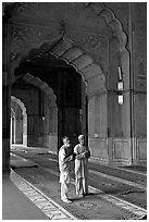 Two muslem men in Jama Masjid mosque prayer hall. New Delhi, India ( black and white)