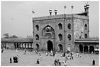 Courtyard and East gate of Masjid-i-Jahan Numa. New Delhi, India (black and white)