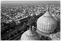 Domes of Jama Masjid mosque and Old Delhi from above. New Delhi, India (black and white)