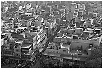 View of Old Delhi streets and houses from above. New Delhi, India (black and white)
