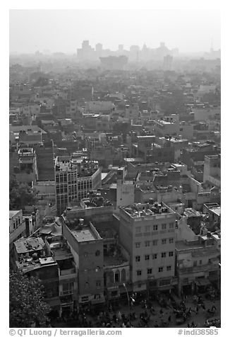 View of Old Delhi from above with high rise skyline in back. New Delhi, India (black and white)