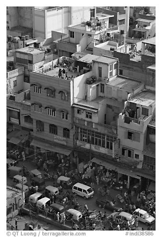 Street traffic and buildings from above, Old Delhi. New Delhi, India (black and white)