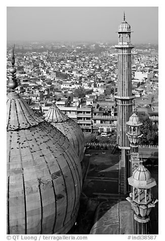 Domes and Minaret from above, Jama Masjid. New Delhi, India (black and white)
