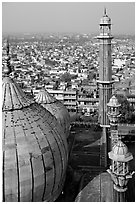 Domes and Minaret from above, Jama Masjid. New Delhi, India ( black and white)