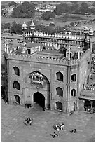 East Gate and courtyard from above, Jama Masjid. New Delhi, India (black and white)