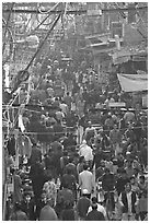 Crowds in Old Delhi street from above. New Delhi, India ( black and white)