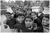 Schoolchildren, Humayun's tomb. New Delhi, India (black and white)