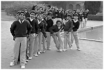 Group of schoolchildren, Humayun's tomb. New Delhi, India (black and white)