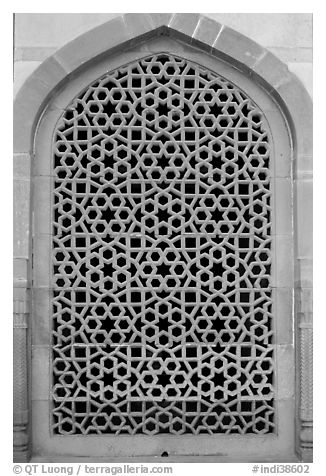 Screened marble window, Humayun's tomb. New Delhi, India (black and white)