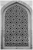 Screened marble window, Humayun's tomb. New Delhi, India ( black and white)