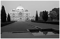 Main mausoleum at dusk, Humayun's tomb,. New Delhi, India (black and white)