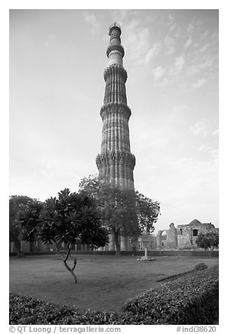 Qutb Minar garden and tower. New Delhi, India