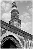 Alai Darweza gate and Qutb Minar tower. New Delhi, India ( black and white)