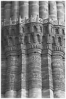 Shafts separated by Muqarnas corbels, Qutb Minar. New Delhi, India ( black and white)