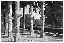 Colonade and gardens, Qutb complex. New Delhi, India ( black and white)