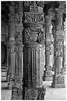 Column details, Quwwat-ul-Islam mosque, Qutb complex. New Delhi, India ( black and white)