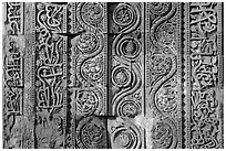 Geometrical patterns with  Floral motifs, Quwwat-ul-Islam mosque, Qutb complex. New Delhi, India (black and white)