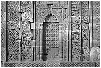 Wall decor, ruined Quwwat-ul-Islam mosque, Qutb complex. New Delhi, India (black and white)