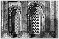 Marble screened windows of Imam Zamin tumb, Qutb complex. New Delhi, India (black and white)