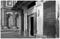 Detail of tomb of Imam Zamin and  Alai Darweza gate, Qutb complex. New Delhi, India ( black and white)
