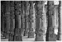 Colonade around  Quwwat-ul-Islam mosque, Qutb complex. New Delhi, India (black and white)