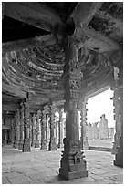 Columns and courtyard, Quwwat-ul-Islam mosque, Qutb complex. New Delhi, India (black and white)