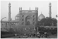 Jama Masjid and East Gate at sunrise. New Delhi, India (black and white)