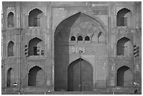 Detail of Jama Masjid East Gate. New Delhi, India (black and white)