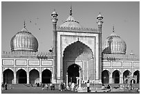 Jama Masjid, India's largest mosque, morning. New Delhi, India ( black and white)