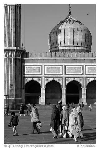 Group of people, courtyard, prayer hall, and dome, Jama Masjid. New Delhi, India (black and white)