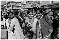 Young women during a wedding procession. Jodhpur, Rajasthan, India (black and white)