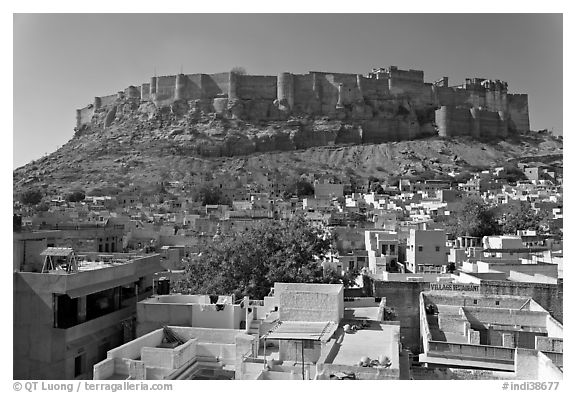 Mehrangarh Fort and city rooftops, afternoon. Jodhpur, Rajasthan, India (black and white)