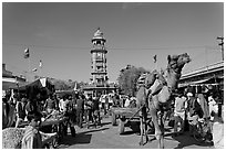Camel and clock tower in Sardar Market. Jodhpur, Rajasthan, India ( black and white)