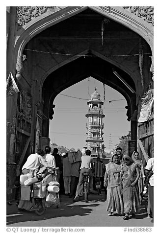 Gate leading to clock tower and Sardar Market. Jodhpur, Rajasthan, India (black and white)