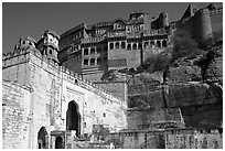 Gate and high wall, Mehrangarh Fort. Jodhpur, Rajasthan, India (black and white)